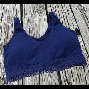 ABS Allen Schwartz Intimates & Sleepwear - New ABS Pink Navy Stretchy Tank Lace Bra Set XL